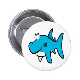smirking shark cartoon 2 inch round button