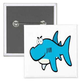 smirking shark cartoon 2 inch square button