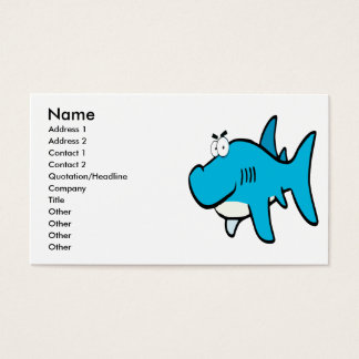 smirking shark cartoon business card