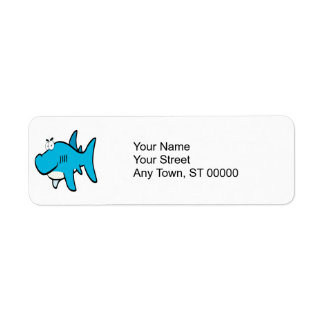 smirking shark cartoon label