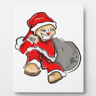 Smirky Smile Santa on the Run Holding Toy Sack Plaque
