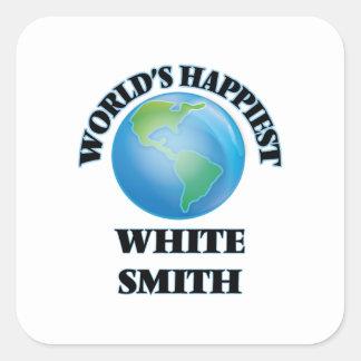 Smith blanco más feliz del mundo pegatina cuadrada