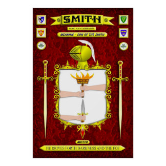 SMITH FAMILY COAT OF ARMS CREST AND SHIELD POSTER