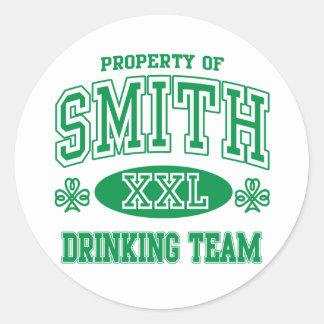 Smith Irish Drinking Team Classic Round Sticker