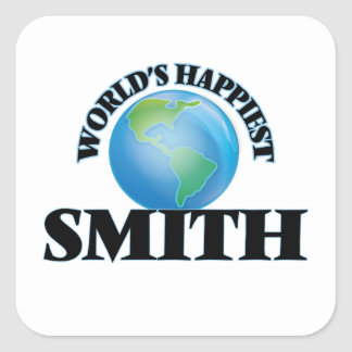 Smith más feliz del mundo pegatina cuadrada