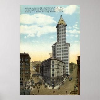 Smith que construye el vintage 1915 de Seattle Póster