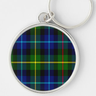 Smith Scottish Tartan Silver-Colored Round Keychain