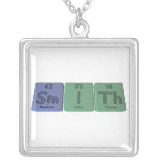Smith-Sm-I-Th-Samarium-Iodine-Thorium.png Square Pendant Necklace