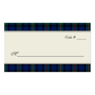 Smith Tartan Plaid Wedding Escort Place Card Double-Sided Standard Business Cards (Pack Of 100)