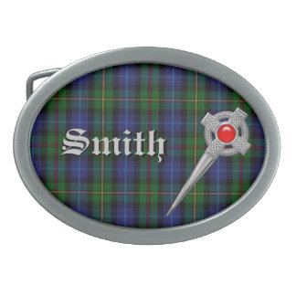 Smith Tartan Plaid with Name and Faux Celic Pin Belt Buckle