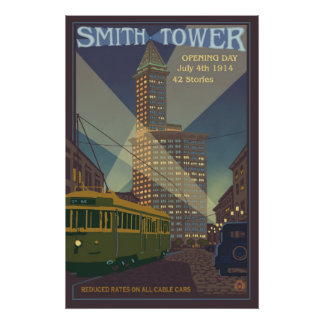 Smith Tower - Seattle, Washington Travel Poster