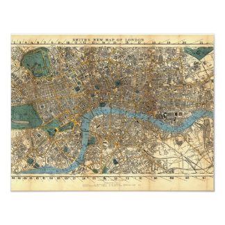 """Smith's new map of London 1860 4.25"""" X 5.5"""" Invitation Card"""