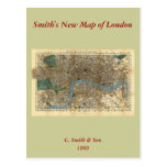 Smith's new map of London 1860 Postcard
