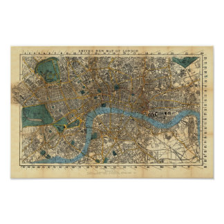 Smith's new map of London 1860 Poster