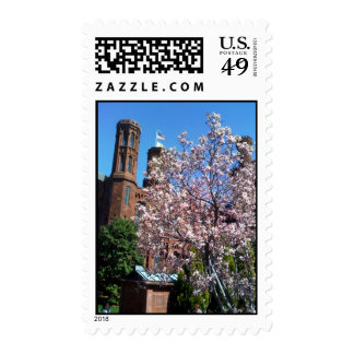 Smithsonian Castle with Cherry Blossoms Postage