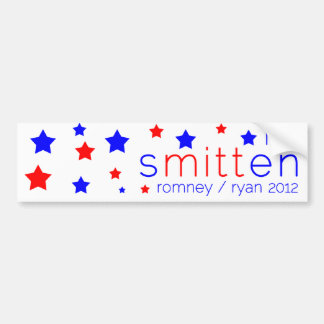 Smitten Bumper Sticker Red, White, and Blue Romney Car Bumper Sticker