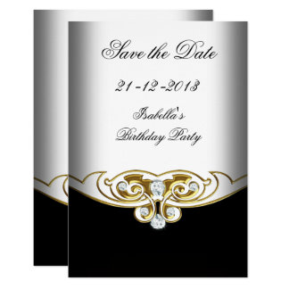 Sml Save the Date White Black Gold Diamond Card