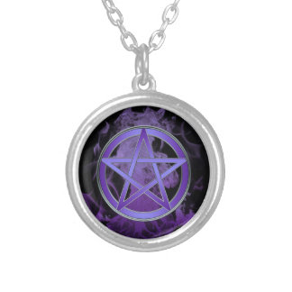 Smoke and Mirror Pentacle Round Pendant Necklace