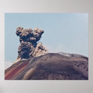Smoke escaping from active volcano Anak Krakatau Poster