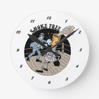 Smoke Free. Kicking butt! Round Clock