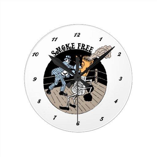Smoke Free. Kicking butt! Round Clocks
