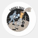 Smoke Free. Kicking butt! Round Stickers
