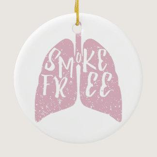 Smoke Free Lungs Ceramic Ornament