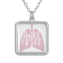Smoke Free Lungs Silver Plated Necklace