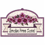 """&quot;Smoke Free Zone&quot; - Decorative Sign - 17 Statuette<br><div class=""""desc"""">Ruby roses on cream: This item is part of a large collection of mix &amp; match gifts all with the same basic design elements.. The original design was hand painted and features ruby roses on a cream background, maroon and cream checks and stripes, and some cream coloured lace on a...</div>"""