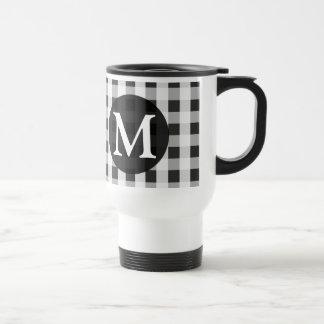 Smoke Gray Gingham Pattern Personalized Monogram Travel Mug