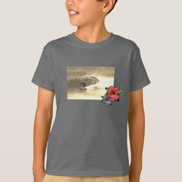 Beach Themed Smoke-Grey-Island-beach-surf-Tee-for-kids T-Shirt