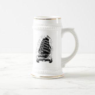 smoke or fire ship beer stein mug