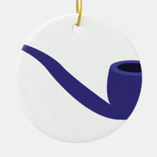 Smoke Pipe Double-Sided Ceramic Round Christmas Ornament