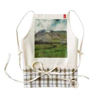 Smoke seemingly coming out of a mountain zazzle HEART apron