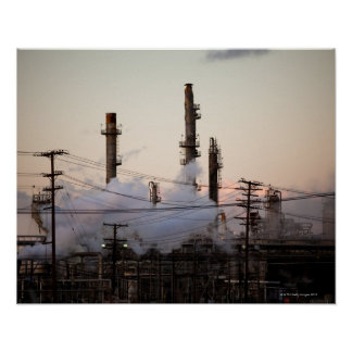 Smoke stacks and distillation towers rise poster