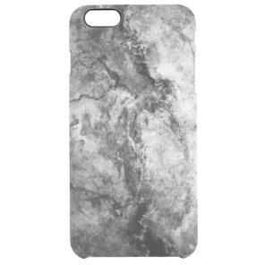 Smoke Streaked Black White marble stone finish Clear iPhone 6 Plus Case