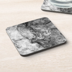 Smoke Streaked Black White marble stone finish Drink Coaster