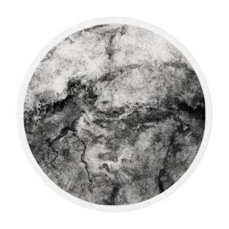 Smoke Streaked Black White marble stone finish Edible Frosting Rounds