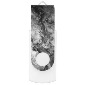 Smoke Streaked Black White marble stone finish Flash Drive