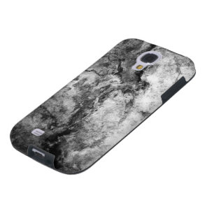 Smoke Streaked Black White marble stone finish Galaxy S4 Case
