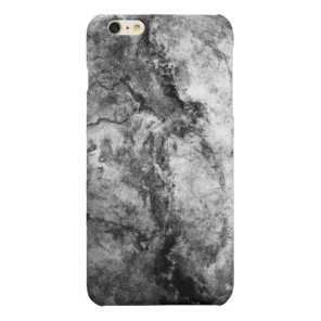 Smoke Streaked Black White marble stone finish Glossy iPhone 6 Plus Case