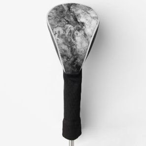 Smoke Streaked Black White marble stone finish Golf Head Cover