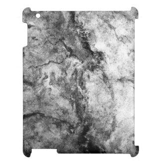 Smoke Streaked Black White marble stone finish iPad Cases
