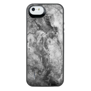 Smoke Streaked Black White marble stone finish iPhone SE/5/5s Battery Case