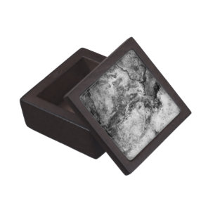 Smoke Streaked Black White marble stone finish Jewelry Box