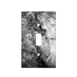 Smoke Streaked Black White marble stone finish Light Switch Cover
