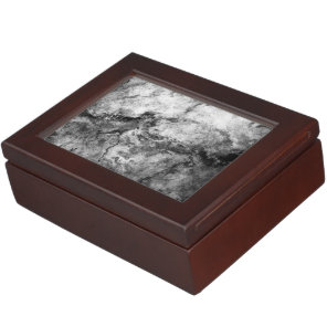 Smoke Streaked Black White marble stone finish Memory Box
