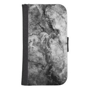 Smoke Streaked Black White marble stone finish Phone Wallet