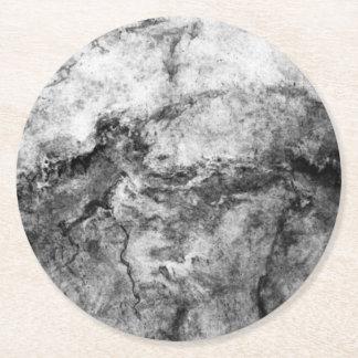 Smoke Streaked Black White marble stone finish Round Paper Coaster