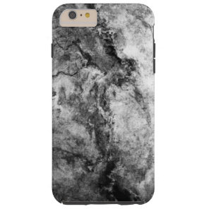 Smoke Streaked Black White marble stone finish Tough iPhone 6 Plus Case